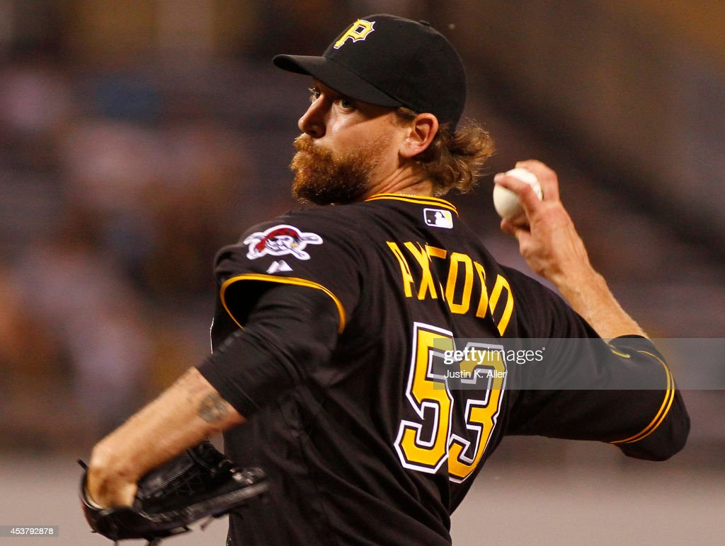 <a gi-track='captionPersonalityLinkClicked' href=/galleries/search?phrase=John+Axford&family=editorial&specificpeople=6825257 ng-click='$event.stopPropagation()'>John Axford</a> #53 of the Pittsburgh Pirates pitches in the eighth inning against the Atlanta Braves during the game at PNC Park on August 18, 2014 in Pittsburgh, Pennsylvania.