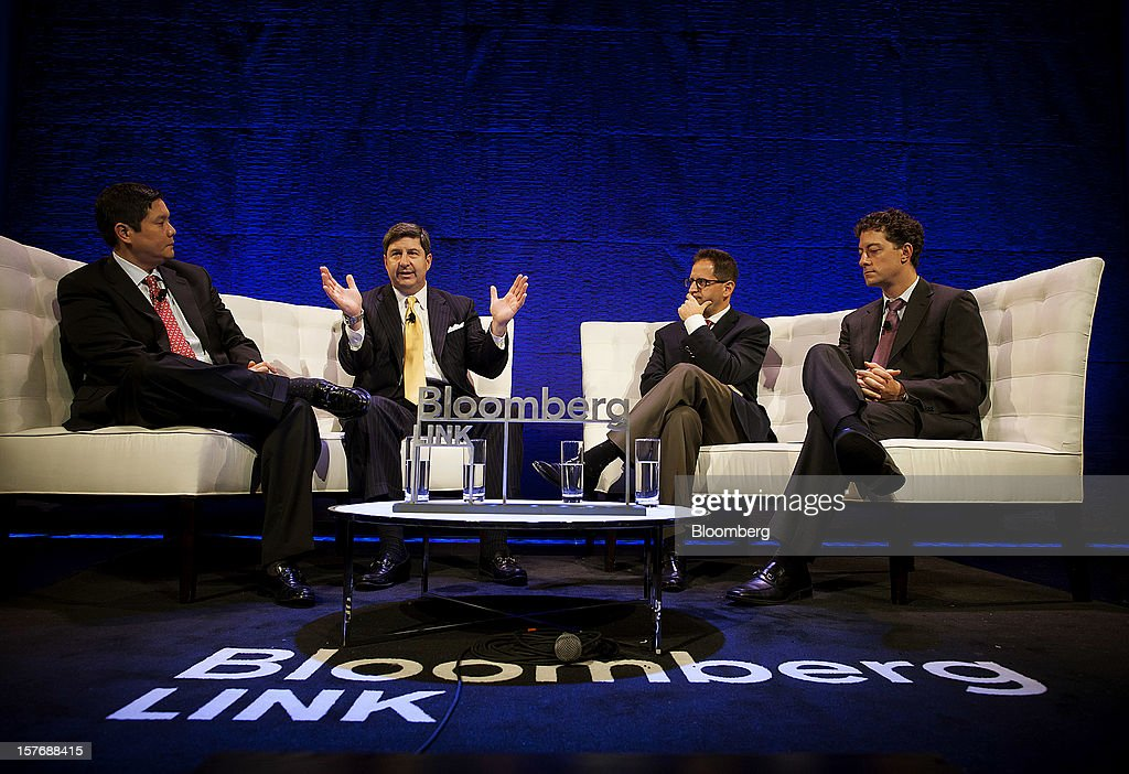 John Bailey, founder and chief executive officer of Spruce Private Investors LLC, from second left, Gideon King, president and chief investment officer at Loeb Capital Management, and Jeffrey Smith, chief executive officer and chief investment officer at Starboard Value LP, participate in a panel discussion moderated by Dominic Chu, markets reporter for Bloomberg Television, left, during the Bloomberg Hedge Funds Summit in New York, U.S., on Wednesday, December 5, 2012. The Bloomberg Hedge Funds Summit convenes managers and investors to discuss the impact of the European debt crisis on the global markets and break down the fundamentals driving volatility in the equity markets. Photographer: Michael Nagle/Bloomberg via Getty Images