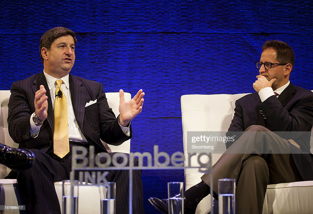 John Bailey, founder and chief executive officer of Spruce Private Investors LLC, left, speaks while Gideon King, president and chief investment officer at Loeb Capital Management, listens during the Bloomberg Hedge Funds Summit in New York, U.S., on Wednesday, December 5, 2012. The Bloomberg Hedge Funds Summit convenes managers and investors to discuss the impact of the European debt crisis on the global markets and break down the fundamentals driving volatility in the equity markets. Photographer: Michael Nagle/Bloomberg via Getty Images