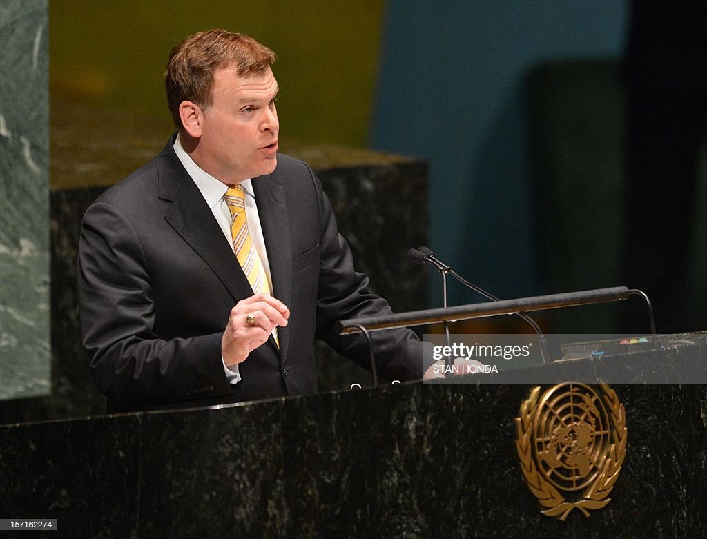 John Baird, Canada's Foreign Minister, speaks to the United Nations General Assembly before the body votes on a resolution to upgrade the status of the Palestinian Authority to a nonmember observer state November 29, 2012 at UN headquarters in New York. AFP PHOTO/Stan HONDA