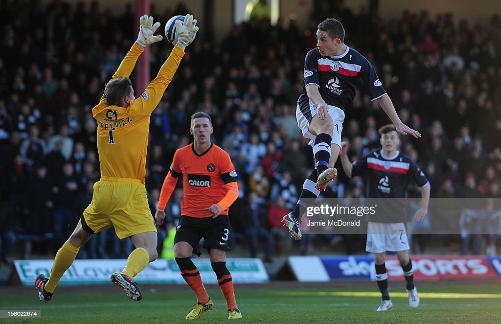 John Baird of Dundee heads over Radoslaw Ciernnaik of Dundee United during the Clydesdale Bank Premier League match between Dundee and Dundee United at Dens Park Stadium on December 9, 2012 in Dundee, Scotland.