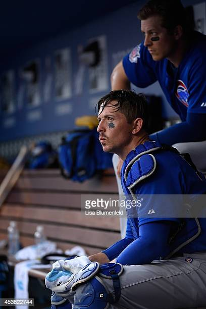 John Baker of the Chicago Cubs sits in the dugout during the game against the Los Angeles Dodgers at Dodger Stadium on August 3 2014 in Los Angeles...