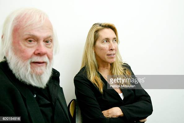 John Baldessari and Lisa Phillips attend Marian Goodman Gallery presents JOHN BALDESSARI 'Raised Eyebrows/Furrowed Foreheads' 2008 at Marian Goodman...