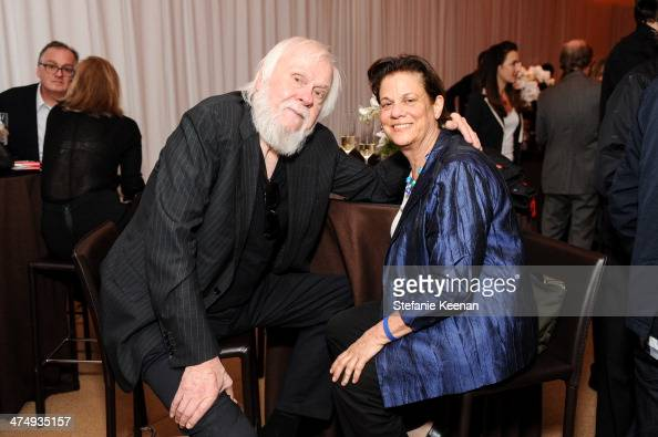 John Baldessari and Stephanie Barron attend CalArts Art Benefit And Auction Los Angeles Opening Reception At Regen Projects on February 25 2014 in...