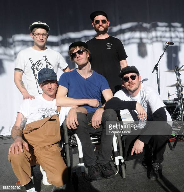 John Baldwin Gourley Kyle O'Quin Eric Howk Jason Sechrist and Zachary Scott Carothers of the Portugal The Man pose after the soundcheck at the Jannus...