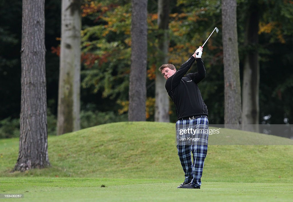 John Bandurak of Great Barr GC in action during the final round of the Skins PGA Fourball Championship at Forest Pines Hotel & Golf Club on October 5, 2012 in Broughton, England.