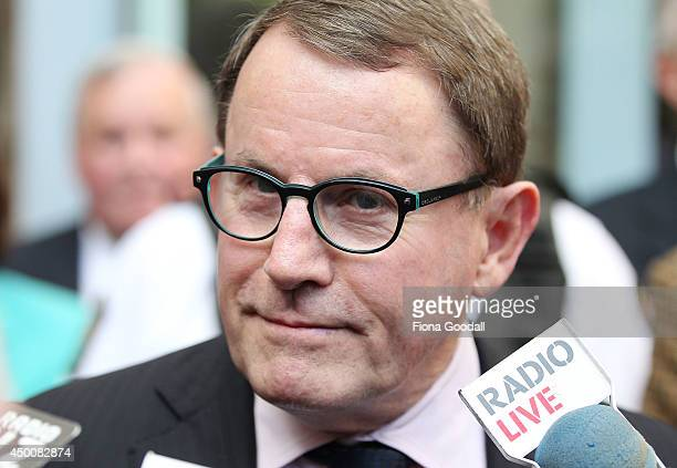 John Banks speaks to the media outside the Auckland High Court after his guilty verdict on June 5 2014 in Auckland New Zealand Banks was found guilty...