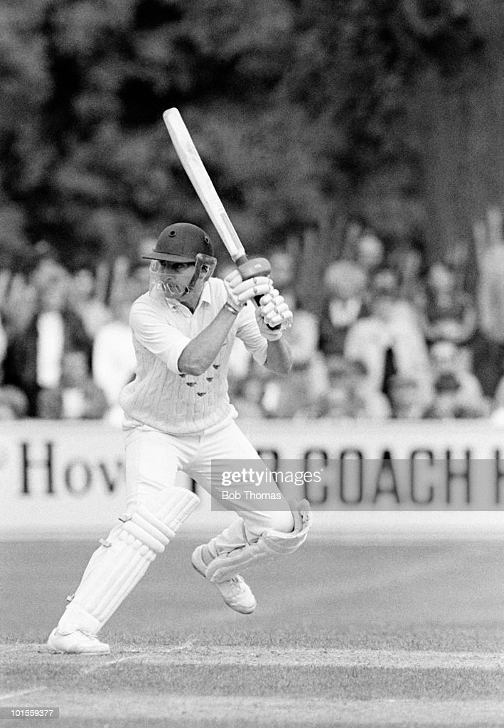 John Barclay batting for Sussex against Somerset during a John Player League cricket match held The County Ground, Hove on 1st June 1986. Somerset won by 8 wickets in a match reduced by rain to 25 overs per side. (Bob Thomas/Getty Images).