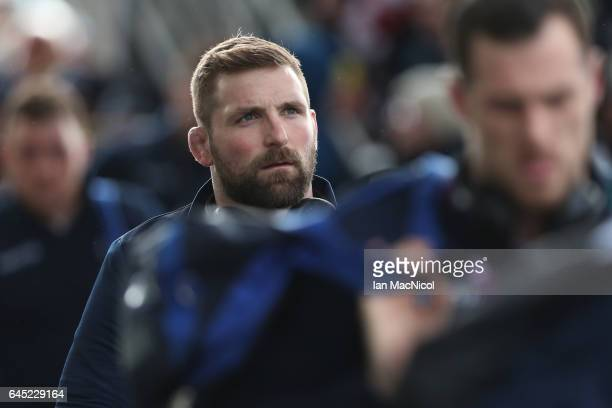 John Barclay of Scotland arrives ahead of kickoff during the RBS Six Nations match between Scotland and Wales at Murrayfield Stadium on February 25...