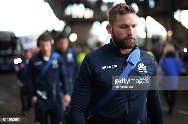 John Barclay of Scotland arrives at the stadium during the Scotland v Argentina Autumn Test Match at Murrayfield Stadium November 19 2016 in...