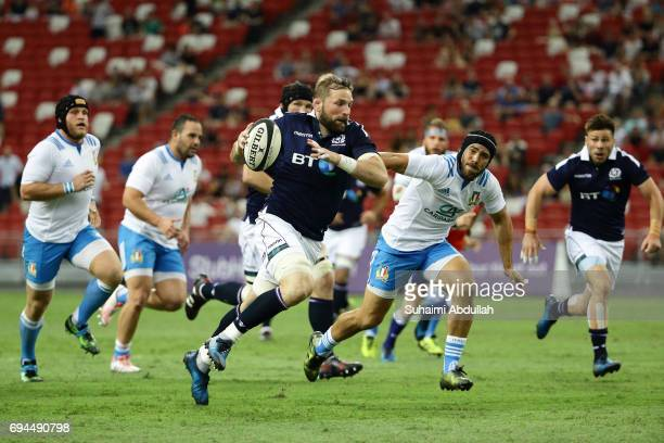 John Barclay of Scotland in action during the International Test match between Italy and Scotland at Singapore Sports Stadium on June 10 2017 in...