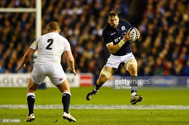 John Barclay of Scotland is confronted by Dylan Hartley of England during the RBS Six Nations match between Scotland and England at Murrayfield...