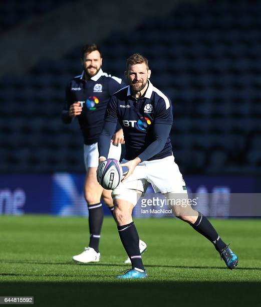John Barclay of Scotland is seen during the Captain's Run ahead of tomorrows 6 Nations Rugby match between Scotland and Wales at Murrayfield on...