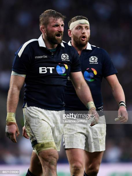 John Barclay of Scotland looks dejected during the RBS Six Nations match between England and Scotland at Twickenham Stadium on March 11 2017 in...