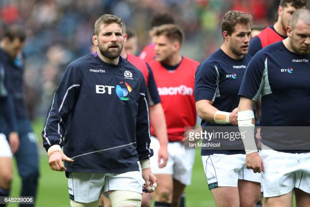 John Barclay of Scotland looks on following the team warm up during the RBS Six Nations match between Scotland and Wales at Murrayfield Stadium on...