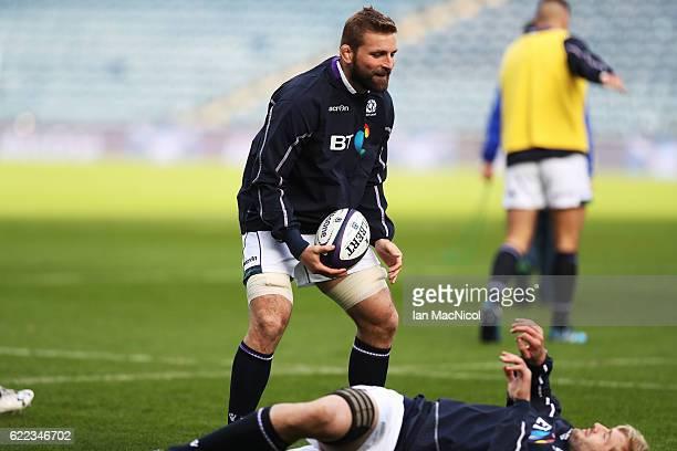 John Barclay of Scotland takes part in the captains run at Murrayfield Stadium on November 11 2016 in Edinburgh Scotland
