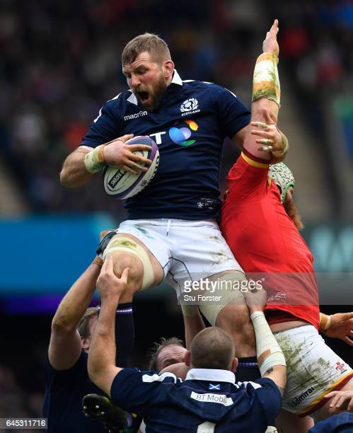 John Barclay of Scotland wins lineout ball under pressure from Jake Ball of Wales during the RBS Six Nations match between Scotland and Wales at...