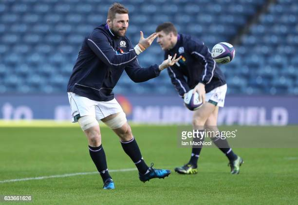 John Barclay takes part in the captains run prior to tomorrow's 6 Nations match between Scotland and Ireland at Murrayfield on February 3 2017 in...