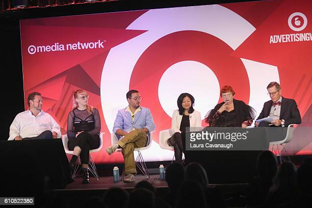 John Barker Becca McCharen Babak Radboy Christine Wu Lynn Yaeger and James LaFor speak onstage during the Creative Courage Finding The Authentic...
