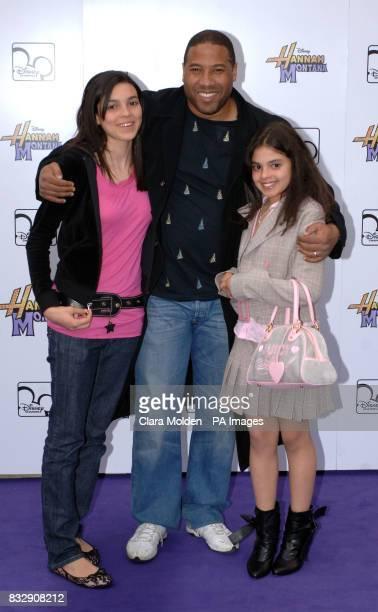 John Barnes and his children arrive for Disney sensation Hannah Montana's debut UK gig at Koko in Camden north London