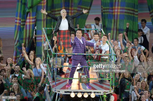 John Barrowman and Karen Dunbar perform during the 2014 Commonwealth Games Opening Ceremony at Celtic Park Glasgow