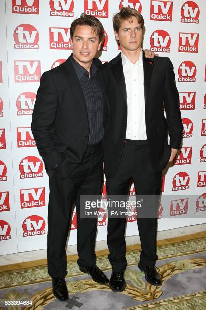 John Barrowman and Scott Gill arriving for the TV Quick and TV Choice awards at The Dorchester London