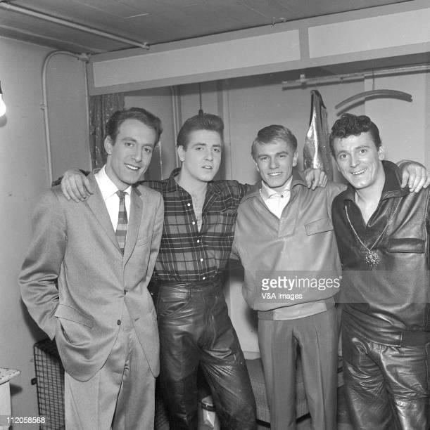 John Barry Eddie Cochran Adam Faith Gene Vincent pose backstage at Wembley Empire Pool 20 February 1960