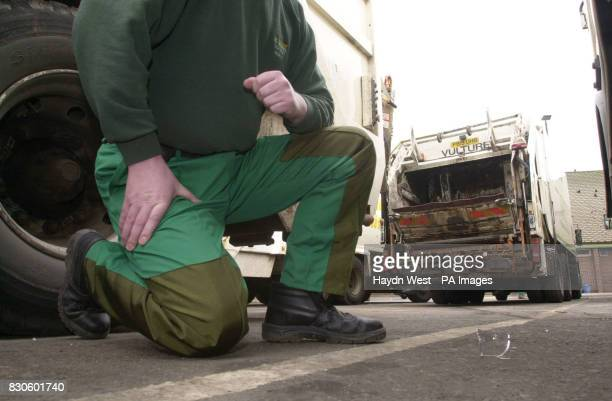 John Bartram employee of Nottingham City Contracts wears a pair of Kevlar trousers a fabric better known for bullet proof vests introduced after...