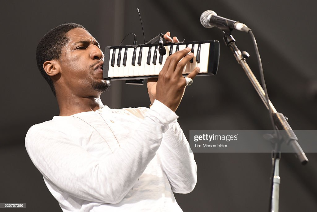 John Batiste of John Batiste & Stay Human performs during the 2016 New Orleans Jazz & Heritage Festival at Fair Grounds Race Course on April 30, 2016 in New Orleans, Louisiana.