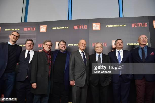 John Battsek guest Steven Spielberg Guillermo del Toro George Stevens Jr Lawrence Kasdan Ted Sarandos and Laurent Bouzereau attend the 'Five Came...