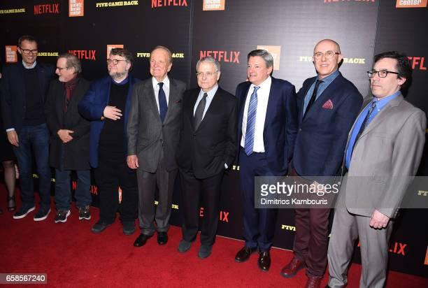 John Battsek Steven Spielberg Guillermo del Toro George Stevens Jr Lawrence Kasdan Ted Sarandos Laurent Bouzereau and Mark Harris attend the 'Five...