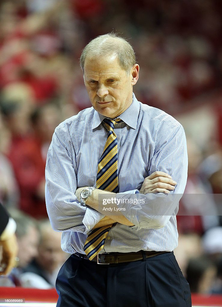 <a gi-track='captionPersonalityLinkClicked' href=/galleries/search?phrase=John+Beilein&family=editorial&specificpeople=233435 ng-click='$event.stopPropagation()'>John Beilein</a> the head coach of the Michigan Wolverines watches the action during the game against the Indiana Hoosiers at Assembly Hall on February 2, 2013 in Bloomington, Indiana.