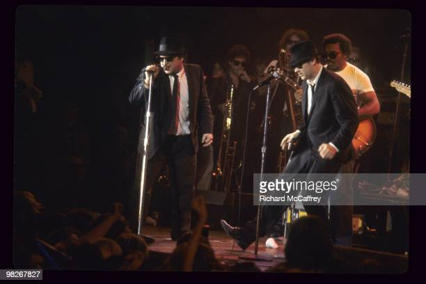 John Belushi aka Jake Blues and Dan Aykroyd aka Elwood Blues of The Blues Brothers perform live at The Winterland Ballroom in 1978 in San Francisco...