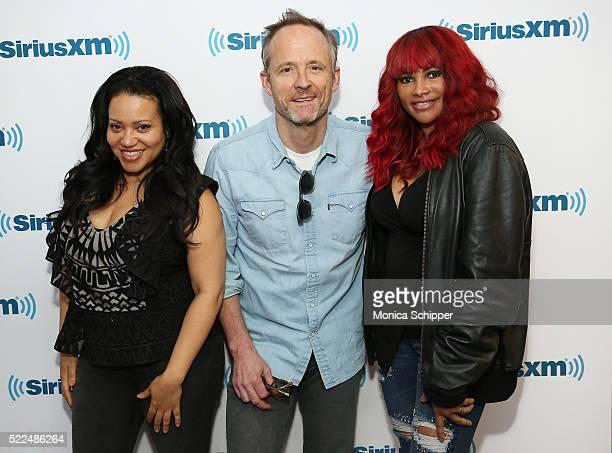 John Benjamin Hickey poses for a photo with Cheryl 'Salt' James and Sandra 'Pepa' Denton of SaltNPepa when they visit SiriusXM Studios to discuss the...