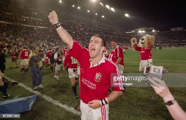 John Bentley of the British Lions celebrates victory in the second test match against South Africa at Kings Park on June 28 1997 in Durban South...