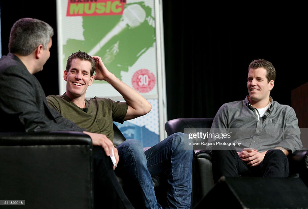 John Biggs of TechCrunch, <a gi-track='captionPersonalityLinkClicked' href=/galleries/search?phrase=Cameron+Winklevoss&family=editorial&specificpeople=5484898 ng-click='$event.stopPropagation()'>Cameron Winklevoss</a> and <a gi-track='captionPersonalityLinkClicked' href=/galleries/search?phrase=Tyler+Winklevoss&family=editorial&specificpeople=4406163 ng-click='$event.stopPropagation()'>Tyler Winklevoss</a> speak onstage at 'Bitcoin! Let's Cut Through the Noise Already' during the 2016 SXSW Music, Film + Interactive Festival at Austin Convention Center on March 11, 2016 in Austin, Texas.