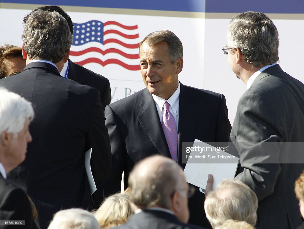 John Boehner, Speaker of the House of Representatives, attends dedication ceremonies for the new George W. Bush Presidential Center in Dallas, Texas, Thursday, April 25, 2013.