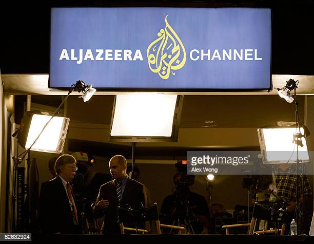 John Bolton stands in the Aljazeera booth on day two of the Republican National Convention at the Xcel Energy Center on September 2 2008 in St Paul...