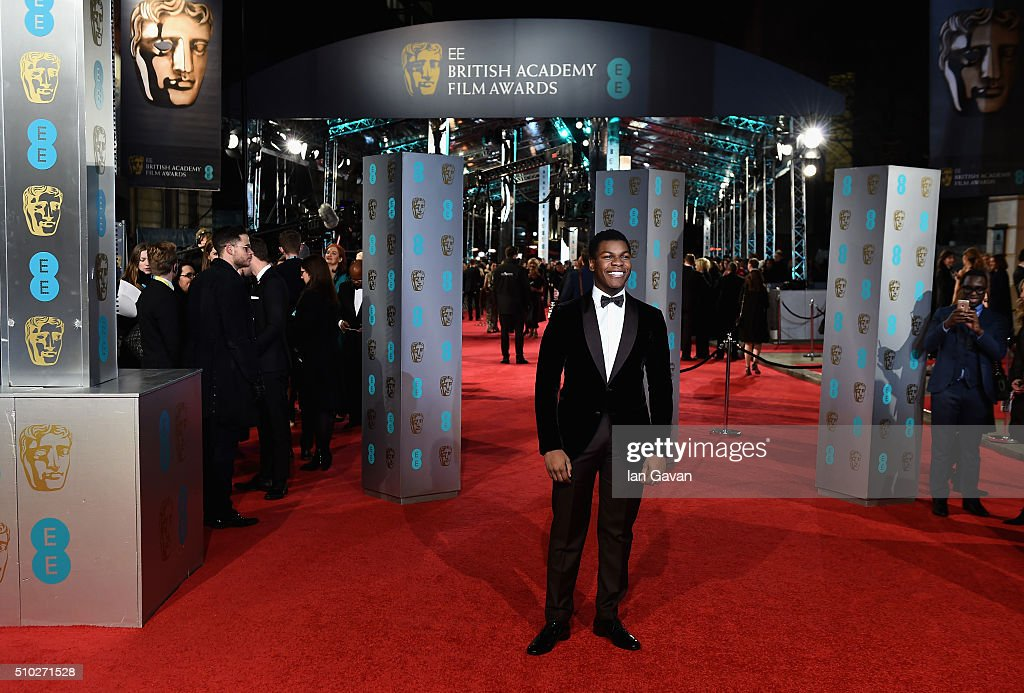 <a gi-track='captionPersonalityLinkClicked' href=/galleries/search?phrase=John+Boyega&family=editorial&specificpeople=7595044 ng-click='$event.stopPropagation()'>John Boyega</a> attends the EE British Academy Film Awards at the Royal Opera House on February 14, 2016 in London, England.