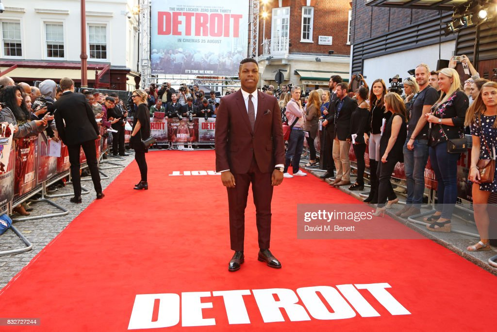 John Boyega attends the European Premiere of 'Detroit' at The Curzon Mayfair on August 16, 2017 in London, England.