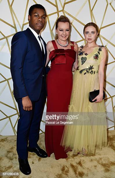 John Boyega Caroline Scheufele and Bel Powley attend the Chopard Trophy Ceremony at the annual 69th Cannes Film Festival at Hotel Martinez on May 12...