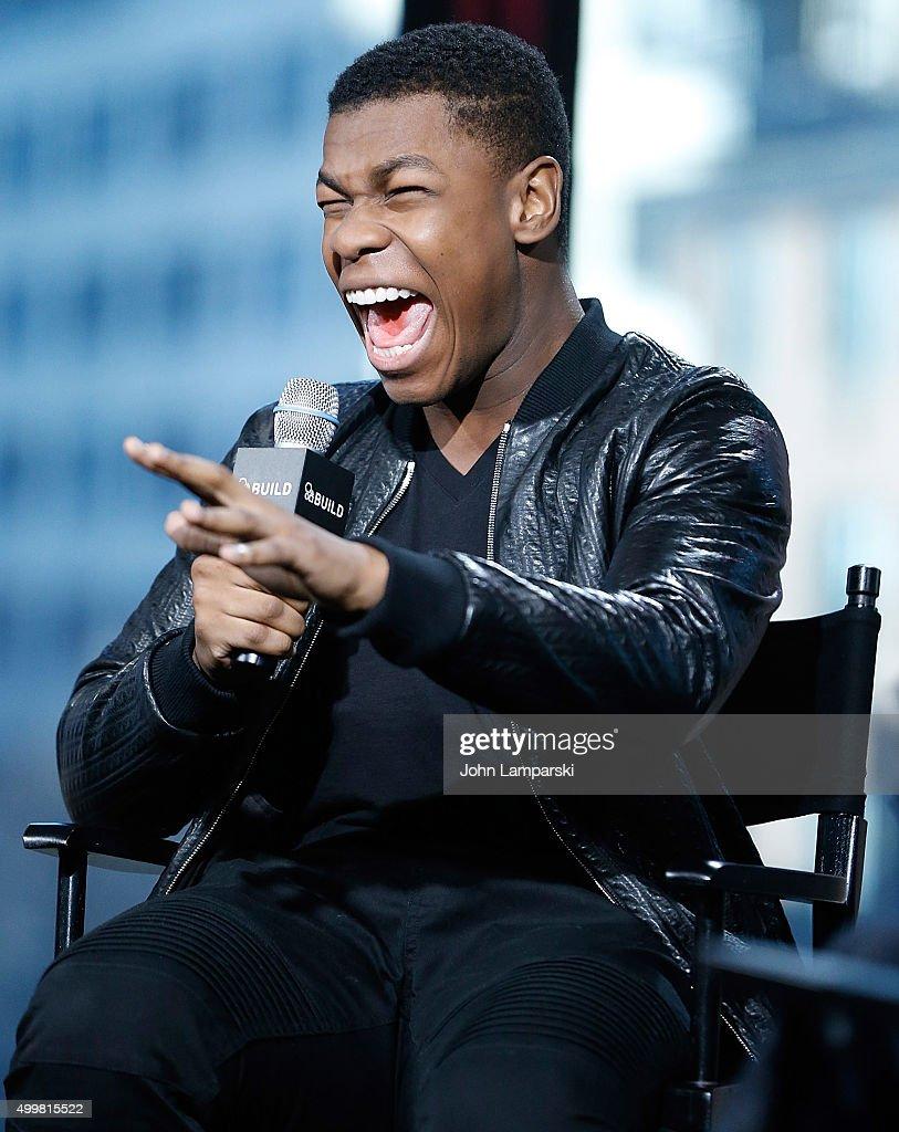 John Boyega form'Star Wars, The Force Awakens' speaks during AOL Build at AOL Studios In New York on December 3, 2015 in New York City.