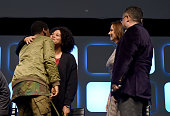 John Boyega Kiri Hart Kathleen Kennedy and Pablo Hidalgo on stage during Future Directors Panel at the Star Wars Celebration 2016 at ExCel on July 17...