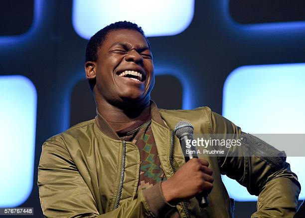 John Boyega on stage during Future Directors Panel at the Star Wars Celebration 2016 at ExCel on July 17 2016 in London England
