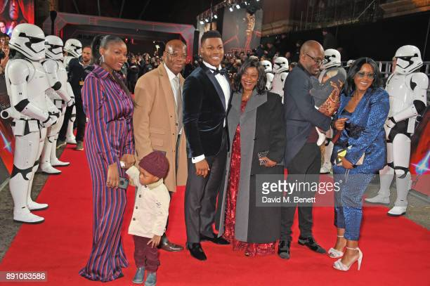 John Boyega poses with family members at the European Premiere of 'Star Wars The Last Jedi' at the Royal Albert Hall on December 12 2017 in London...
