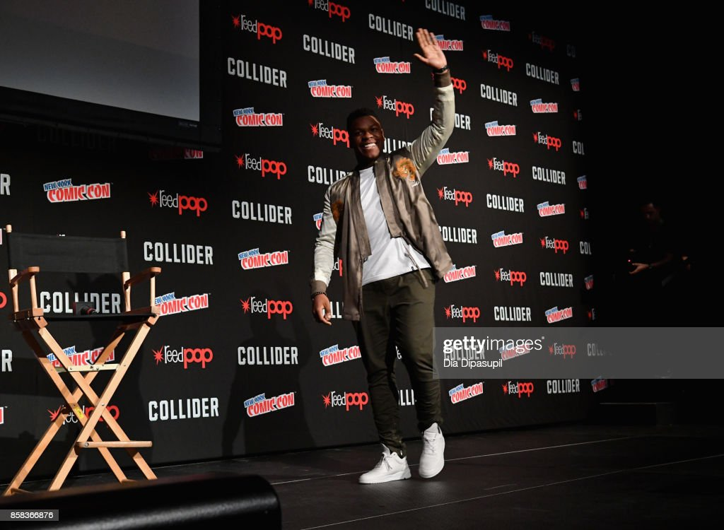 John Boyega speaks onstage during the Pacific Rim: Uprising panel at 2017 New York Comic Con on October 6, 2017 in New York City.