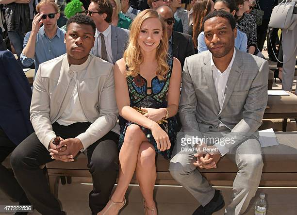 John Boyega Suki Waterhouse and Chiwetel Ejiofor attend the front row at Burberry Menswear Spring/Summer 2016 show at Kensington Gardens on June 15...