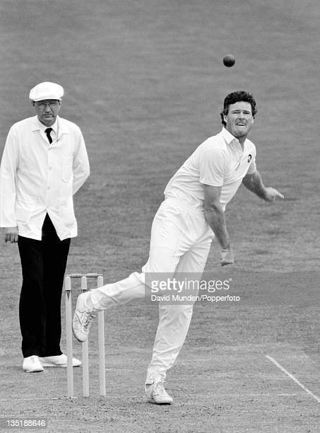 John Bracewell bowling for New Zealand during the 1st Test match against England at Christchurch 17th February 1988 The match ended in a draw