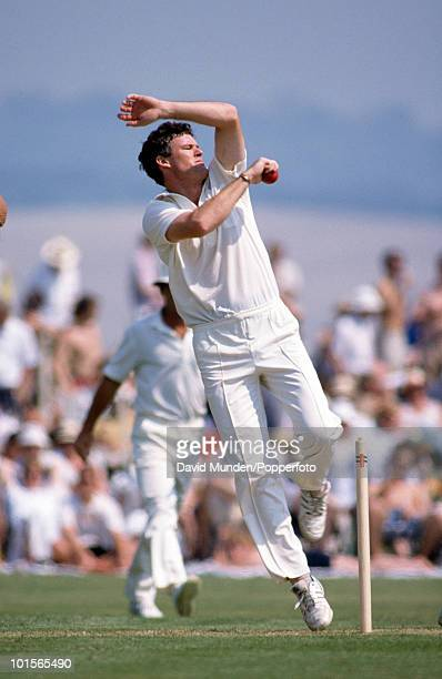 John Bracewell bowling for New Zealand during the match between Lavinia Duchess of Norfolk's XI and New Zealand at Arundel 6th May 1990 New Zealand...