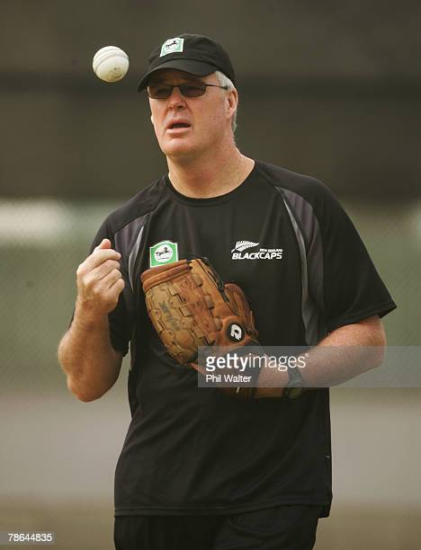John Bracewell coach of the Black Caps during a New Zealand Black Caps training session at Eden Park on December 25 2007 in Auckland New Zealand